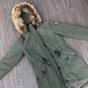 Abercrombie and Fitch faux fur utility jacket. M